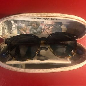 Toms tortoise sunglasses with case lightly worn